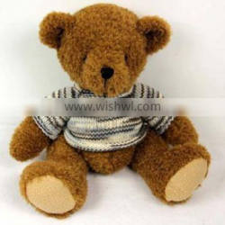 Brown Stuffed Plush Teddy with Knitted T-shirt